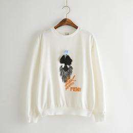animal de visón blanco Rebajas 2016 nueva muñeca de pelo de visón pieza brillante bordado decoración blanco y negro de manga larga suéter Chica