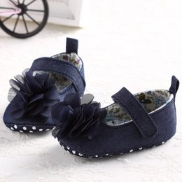 Wholesale Shose Kids - Wholesale- Spring Soft Sole Girl Baby Princess Fashion Flower Denim Toddler Princess First Walkers Girls Kid Shoes Baby Shose Lowest Price