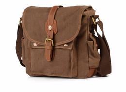 Wholesale Travel Camera Shoulder Bag - Vintage Crazy Horse Canvas Genuine Leather Men Messenger Bags Satchel Crossbody Shoulder Bags Travel Hiking Camera Bags