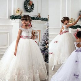Wholesale hottest lace embroidery formal dress - Flower Girl Dresses For Weddings Vintage Jewel Sash Lace Net Baby Girl Birthday Party Communion Dresses Kids Formal Wear Hot New