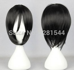 Wholesale Attack Titan Costume Mikasa - Free shipping Attack on Titan Mikasa Ackerman Short Black Cosplay Wigs