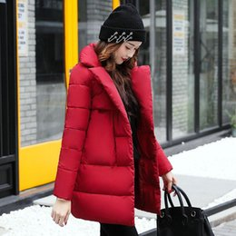 Wholesale Thicken Warm Winter Parka Coat - 2017 Women Winter Down Jacket Female Hooded Thicken Coat Casual Warm Outwear Down Cotton-Padded Long Wadded Coats Parka Solid