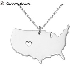 Wholesale Usa Cables - New Fashion Copper&Stainless Steel Silhouette Map USA America Charm Necklace Link Cable Chain Silver Tone Heart Pendant 1 Piece
