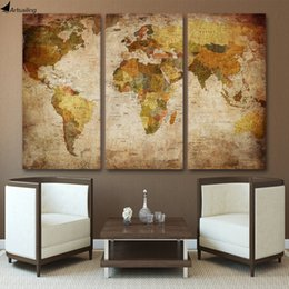 Wholesale Large Panel Canvas Prints - HD printed 3 piece canvas art vintage world map painting room decor large canvas print wall art Free shipping ny-5743