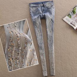 Canada Skinny Jeans Femme Diamant Brodé Trou Complet Crayon Pantalon Jeans Bleu Pantalon Jeans Pour Femmes Mode supplier embroidered jeans trousers women Offre
