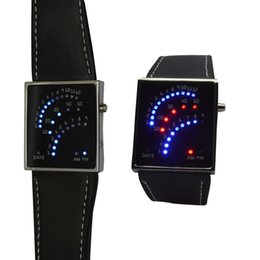 Wholesale Fans Products - Creative Watches LED Digital Date Beautiful Fan Style 29 Red Blue Mens Lady Wrist Watch Black Innovative Electronic Product Gifts