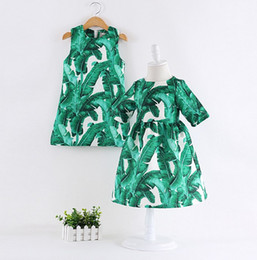 Wholesale Green Leaf Ribbon - 2016 Fashion Girls Clothes Autumn Winter Girls Dress with Green Banana Leaf Printed Short Sleeve Kids Dress For Girls Dress K7459