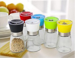 Wholesale Plastic Salt Pepper Grinders - Best selling Glass Pepper set Salt Herb Hand Grinder Mill manual pepper mill Free Shipping Creative kitchen tool