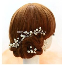 Wholesale Antique White Ribbon - 20 pieces White Red Bridal Hair Pins Accessory Wedding Prom hair Clip Boutique Wholesale Drop shipping Flowers Beads For women