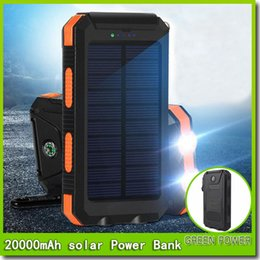 Wholesale Solar Charge Bank - 20000mah Travel Portable Waterproof Solar Power Bank 2 USB External Solar Panel Charging Dual LED Light Compass For All Phone