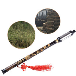 Wholesale nickel wound - Wholesale- Chinese Ethnic Instrument Black Bamboo Bawu Pipe BaWu Flute Tune G Detachable Wind & Woodwind Band & Orchestral Flutes