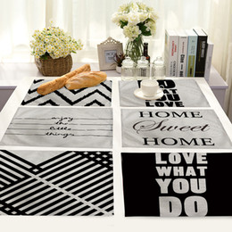 Wholesale White Wedding Fabric Decor - Table Placemat Cotton Tea Towel Home Decor Modern Nordic White Black Geometric Stripe Diamond Wedding Decoration Fabric