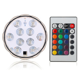 Wholesale Submersible Waterproof Wedding Floral Decorations - 10LED RGB Submersible LED Light Multi Color Waterproof Wedding Party Under Vase Floral Base Light with Romote Controller