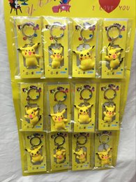 Wholesale Soft Animal Keyrings - New Lot 2 Sheets 24 pcs Pikachu Poke mon 3D Soft Rubber Toys gift Key chain Keyring Fashion gifts