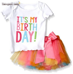 Wholesale Cartoon Characters Suits - Girl INS letters bowknot Lace Rainbow skirt Suit new children fashion ins cartoon Short sleeve T-shirt+Short skirt 2 pcs set Suits B