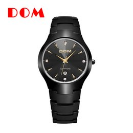 Wholesale Dom Tungsten - DOM Fashion new male men watches creative popular Tungsten steel Round personality popular Business leisure hot selling free shipping