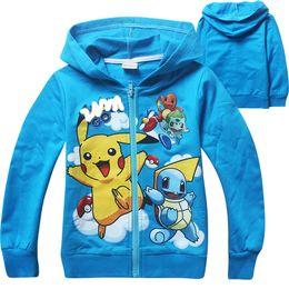 Wholesale Blue Turtle Kids - 2 Colors Children Poke go Pikachu Hoodies Sweatshirts Baby Bulbasaur Jeni turtle Poke Ball Long sleeve Zipper Hoodie jacket kids coat