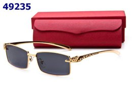 Wholesale Leopard Frame Glasses Optical - Rimmed Men Women Metal Sunglasses Leopard Head Gold Slive Spectacle Frames Optical Sun Glasses With Box Lunettes