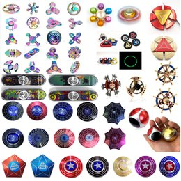Wholesale Hand Gyro - 2017 Newest Arrival Fidget Spinner Captain America HandSpinner Spider Man Finger Gyro Finger EDC For Decompression Toy Anxiety Hand Spinner