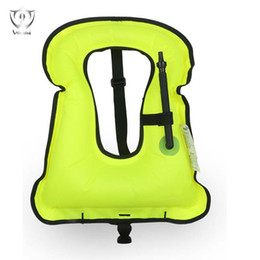 Wholesale Diving Inflatable - Wholesale- Unisex Adult Portable Inflatable Canvas Life Jacket Snorkel Vest for Diving Safety Buoyancy Vest Diving Equipment ZH