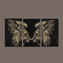 Wholesale Giclee Wall Art - Modern Home Decor Canvas Painting 3 Piece Wall Art Painting of Lion Giclee Print Decorative Picture for Living Room