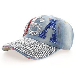Wholesale Crystal Studded - 2016 Women's Adjustable Rhinestone Crystal Baseball Hats Kawaii Denim Letters Usa Bling Hat Studded Brim Diamonds Ladies Jean Campagne