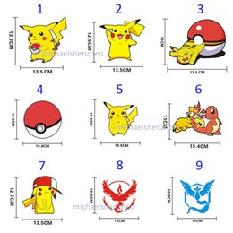 Wholesale Team Wall - 27 Style Poke go team Sticker Instinc Mystic Valor Instinct camp Logo wall car pocket monster Pikachu Decal film iphone Sticker B001