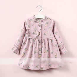 Wholesale Kid Girl Korea - Everweekend Kids Girls Floral Printed Ruffles Shirt Tees Vintage Korea Sweet Children Clothing Lovely Baby Autumn Blouse