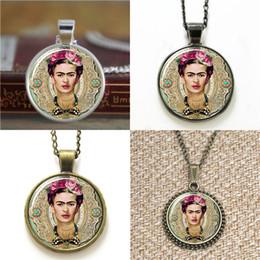 Wholesale Pink Earrings Wholesale - 10pcs Frida Kahlo Feminists Artist Jewelry pink background Art Pendant glass Necklace keyring bookmark cufflink earring bracelet