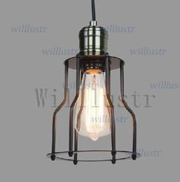 Wholesale Industrial Light Bulb Cage - Vintage CAGE FILAMENT PENDANT industrial lighting Edison bulb black single RH pendant lamp LOFT American Country style lighting
