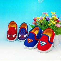 Wholesale Canvas Shoes Batman - New Autumn Spring Superman Spiderman Baby shoes Batman Kids Children Canvas Cartoon Design Shoes Hallloween Festival Running Shoes Sneakers