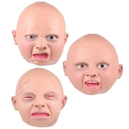 Wholesale Baby Mask Adult Halloween - Latex Disgusted Happy Cry Baby Costume Mask Halloween Full Head Party Masks for Carnival Christmas Joke Free Shipping