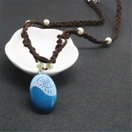 Wholesale Wholesale Pearl Chain - Cartoon Moive Jewelry Moana Necklace Leather Pearl Chain Charm Handmade Pendant Necklace For Cosplay Party Gift