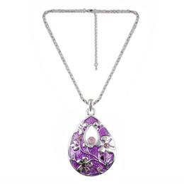 Wholesale Resin Teardrop Necklace - beautiful purple enamel mosaic crystal teardrop-shaped pendant European luxury brands Necklace Free shipping