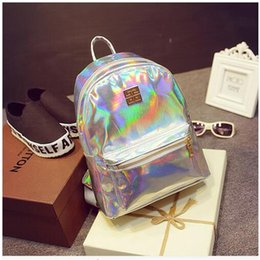 Wholesale Red Green Holographic - Wholesale-2016 New Hologram Laser Backpack Girl School Bag Shoulder Women Rainbow Colorful Metallic Silver Laser Holographic Backpack