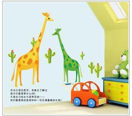 Wholesale Giraffe Animal Stickers - 100pcs ZY7035 Cartoon zoo giraffe family art Kids room decor baby bedroom decor home decoration home decal AY7035. wall stickers art 2.0
