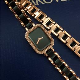 luxusuhren quadratisches gesicht Rabatt Spitzenentwurfs-Frauen-Uhr-Qualitäts-Stahlarmband-Ketten-Luxus-reizvolle quadratische Vorwahlknopf-Gesichts-Dame Armbanduhr Nobel-weiblicher Quarz reizvolles freies Verschiffen