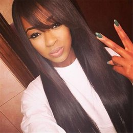 Wholesale Lace Front Wigs Chinese Bangs - Peruvian Hair Straight Wig With Bang Unprocessed Human Hair Lace Front Wig With Bang Long Straight Full Lace Wig Glueless