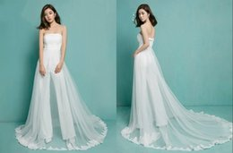 Wholesale Images Cool - Strapless Lace Applique Jumpsuit Simple White Cool Special Modern Simple Custom Made Wedding Dresses Wedding Suits