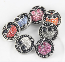 Wholesale Button Jewerly - NOOSA 18MM Snap Button 7 Owl Style Rhinestone Ginger Snap Interchangeable Diy Jewerly Chunk Button Fit Noosa Bracelet Necklace Pendant