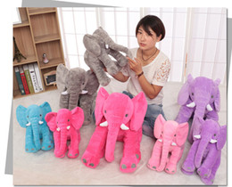 Wholesale Elephant Stuffed - elephant pillow ins Lumbar Pillow Long Nose Elephant Doll Soft Plush Stuff Toys Lumbar Pillow 33*28 cm 5 color LJJK560