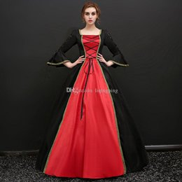 Wholesale Century Length - 2017 Black and Red Square Collar Long Flare Sleeve Backless Gothic Victorian Long Party Dress 18th Century Masquerade Dresses For Women