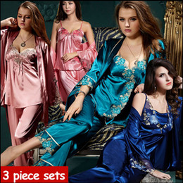 Wholesale Pyjamas Women Silk - 2016 new spring autumn elegant womens silk satin 3 piece sleep suit 3pcs pajama sets sleepwear women lounge pyjamas