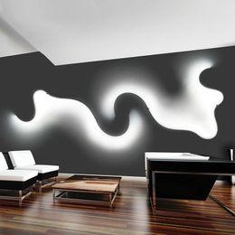 araña de lindsey adelman Rebajas Creativo acrílico curva luz serpiente LED lámpara Nordic Led cinturón pared aplique para decoración