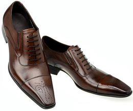 Wholesale Classic Leather Mens Shoes Oxford - fashion classic vintage genuine leather mens dress shoes sale black Italian business male oxford shoe men flats office