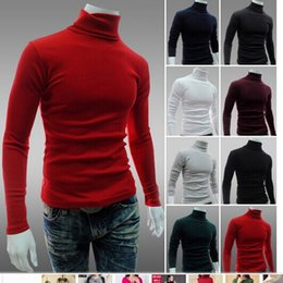 Wholesale Wool Turtleneck Sweater Mens - New Arrival Solid Sweater Men Casual Knitted Sweaters Mens Turtleneck Long Sleeve Pullovers Blusa Masculina XXL
