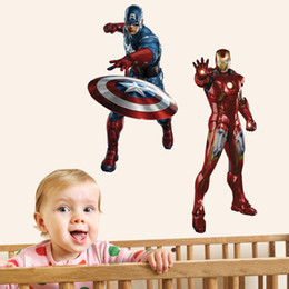 Wholesale Spider Man Wall Stickers - The Avengers Sticker Iron Man Thor Batman Spider Man Captain America Wall Window Glasses Stickers Home Decorate