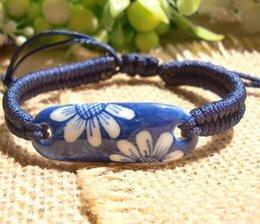 Wholesale Hand Painted Jingdezhen Porcelain - Europe style Jingdezhen blue and white porcelain retro jewelry fashion hand-painted hand-woven bracelet ethnic wind temperament bracelet
