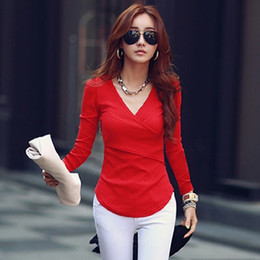 Wholesale Womens Long Shirt Fashion - Wholesale- Women Long Sleeve Tshirts 2016 Deep V Neck Tops Woman Knitted Cotton T Shirt Womens Tee Shirt Femme Plus Size Camisetas Mujer