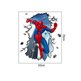 Wholesale Spiderman Stickers For Wall - Free Shipping 3D Effect Scene Spiderman Wall Art Stickers Decal for Home Decor Decoration 50X70CM